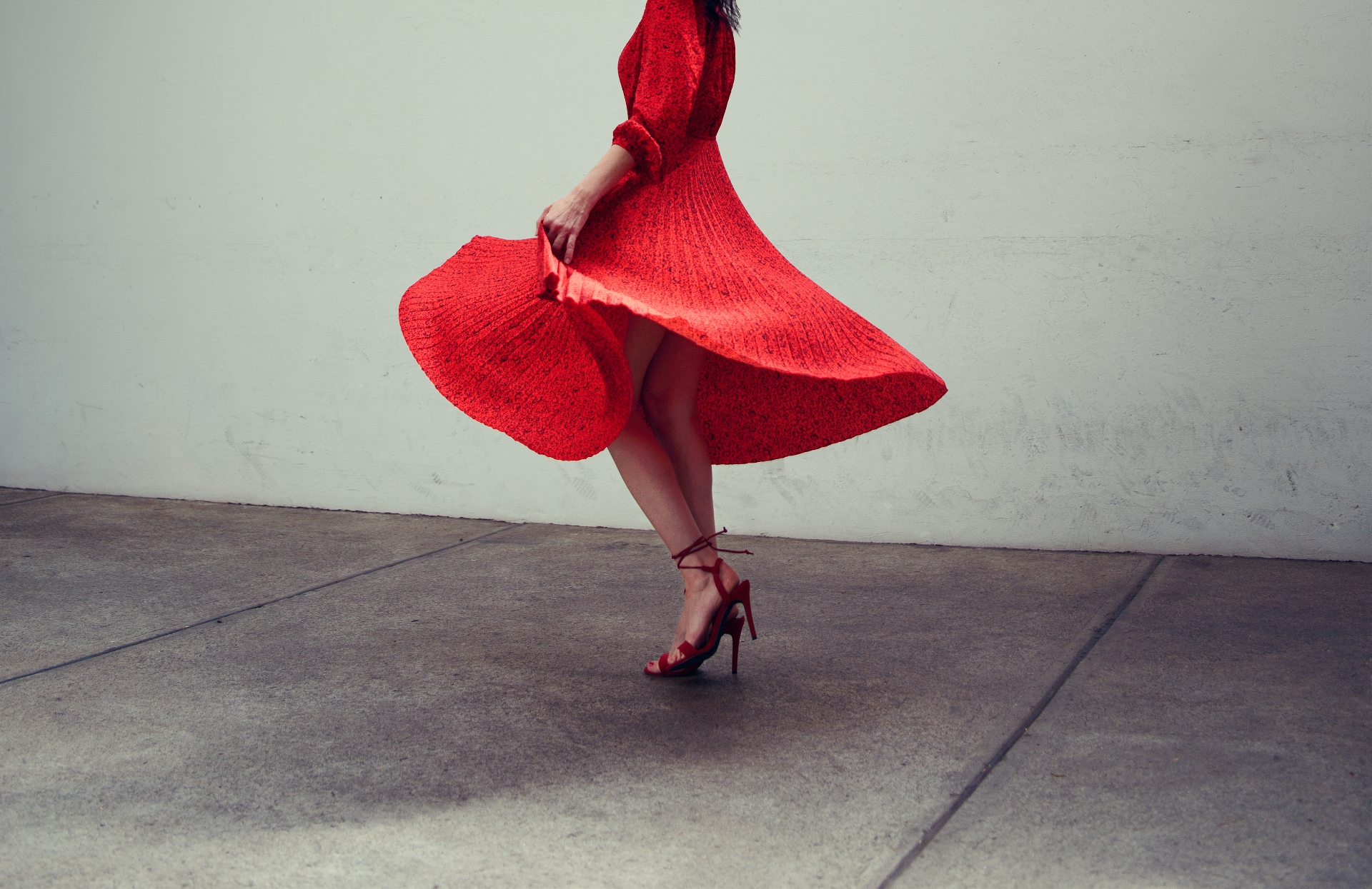 Dancing in a red dress